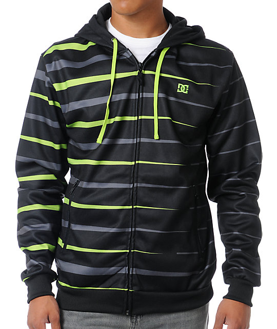 DC Blasted Black Striped Tech Fleece Jacket