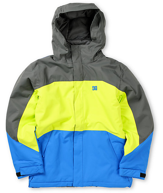 DC Boys Amo K Shadow Lime Blue 5K Snowboarding Jacket 2013