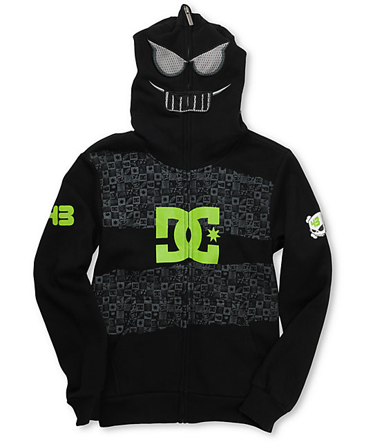 DC Boys Block Black Full Zip Face Mask Hoodie