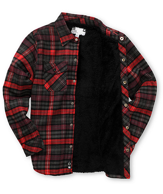 DC Boys Burleigh Red Sherpa Flannel Shirt