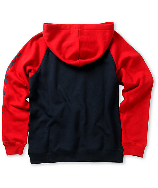DC Boys Combo Red & Blue Raglan Pullover Hoodie