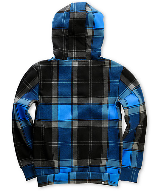 DC Boys Grande Black Plaid Zip Up Hoodie