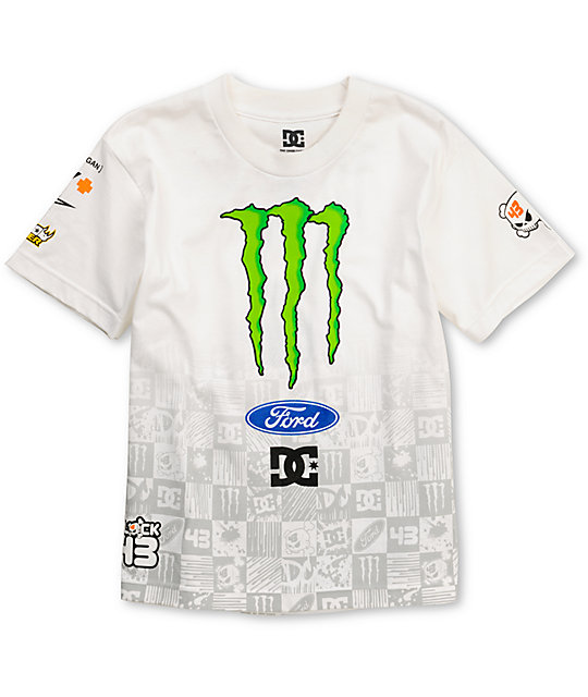 DC Boys Ken Block Check Slider White T-Shirt