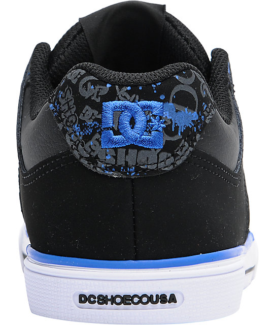 DC Boys Pure Black & Royal Skate Shoes