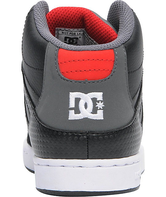 DC Boys Rebound Hi Black, Battleship & Red Skate Shoes