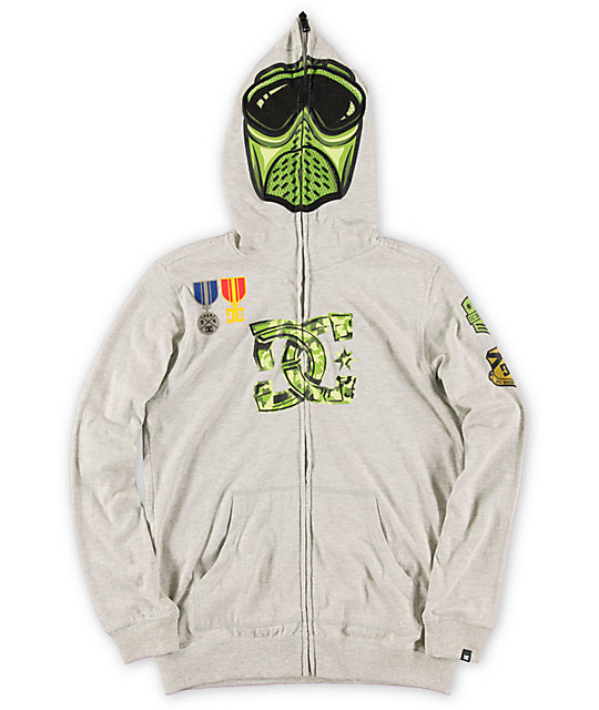 DC Boys Sergeant Heather Grey Full Zip face Mask Hoodie