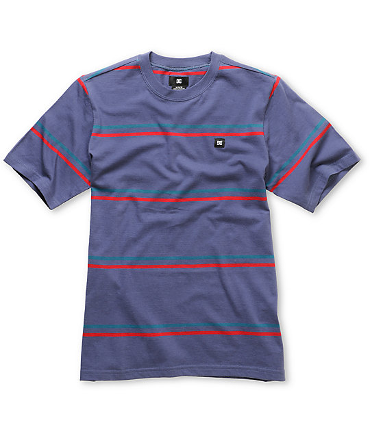 DC Boys Wormser Navy Stripe T-Shirt