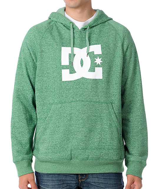 DC Brew Star Logo Mens Heather Green Pullover Hoodie