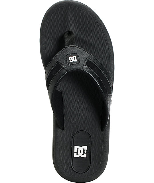 DC Cabo Black & White Leather Sandals