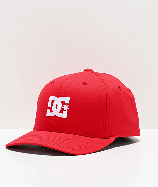 best website 20718 a87a7 DC Cap Star 2 Red FlexFit Hat   Zumiez