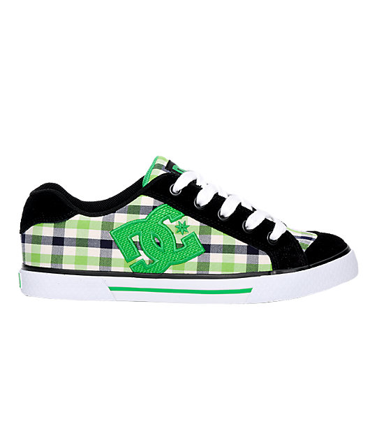 DC Chelsea Black, White & Green Plaid Shoes