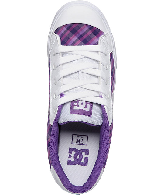 DC Chelsea White & Purple Plaid Shoes