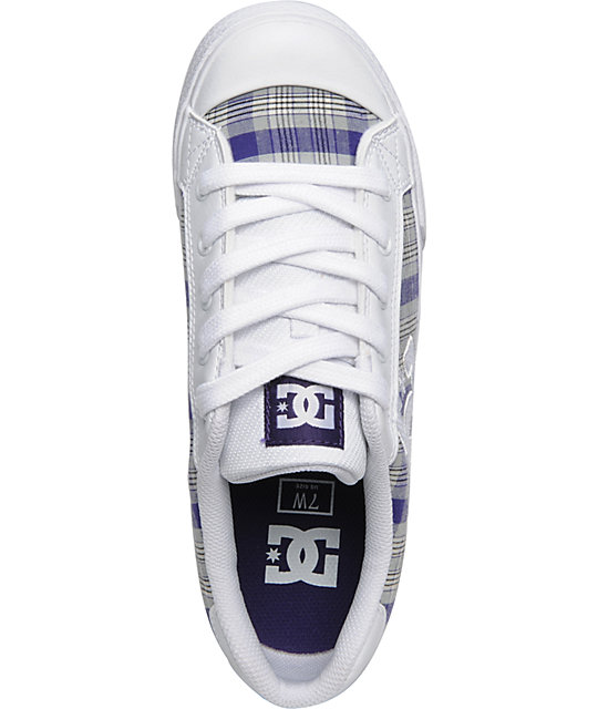 DC Chelsea White & Velvet Purple Shoes