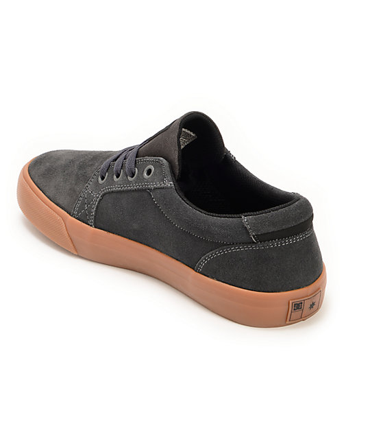 DC Council S Grey & Gum Suede Skate Shoes