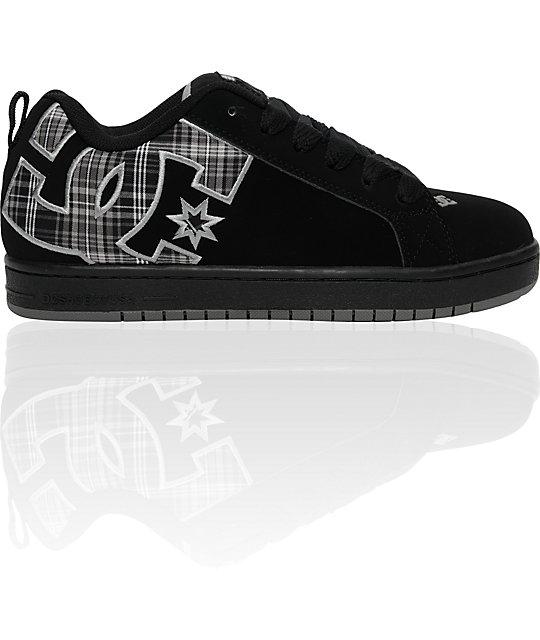 DC Court Graffik SE Black & Plaid Shoes ...