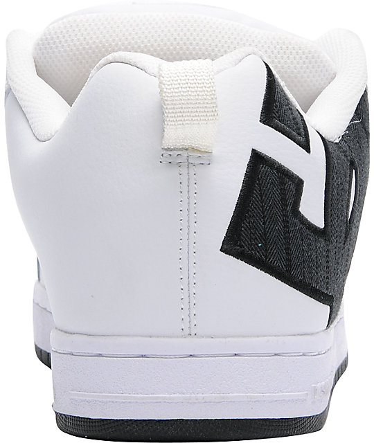 DC Court Graffik SE White, Black, & Herringbone Skate Shoes