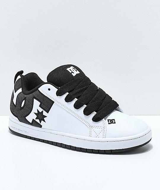 7304be35ae6 DC Court Graffik SE White   Black Skate Shoes