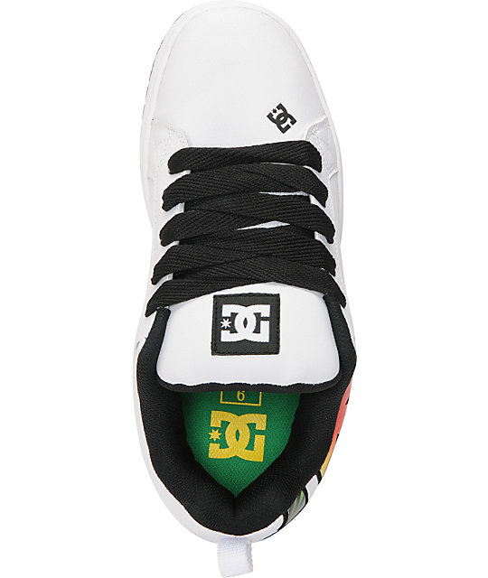 DC Court Graffik SE White & Rasta Skate Shoes