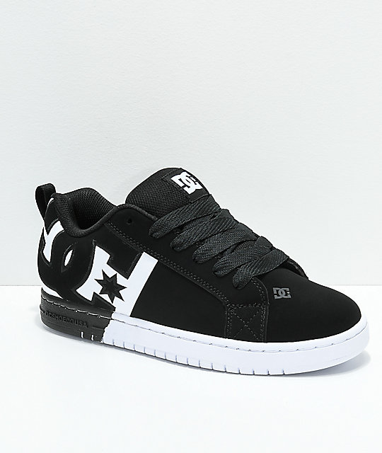 DC Court Graffik SQ Black & White Skate Shoes