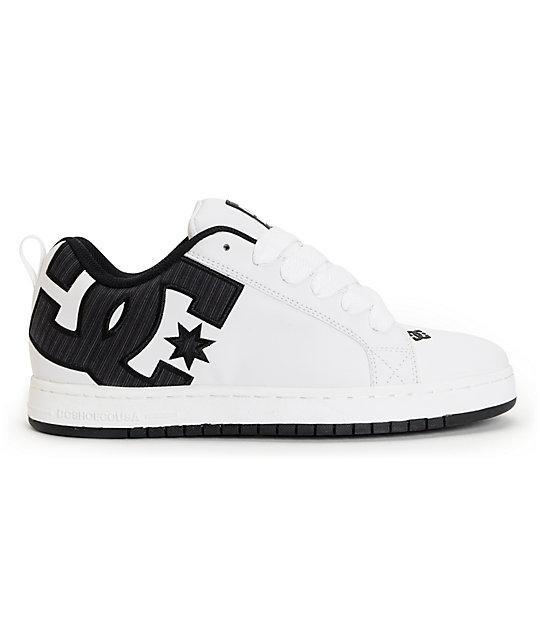 Balance Board Zumiez: DC Court Graffik White & Black Stripe Skate Shoes