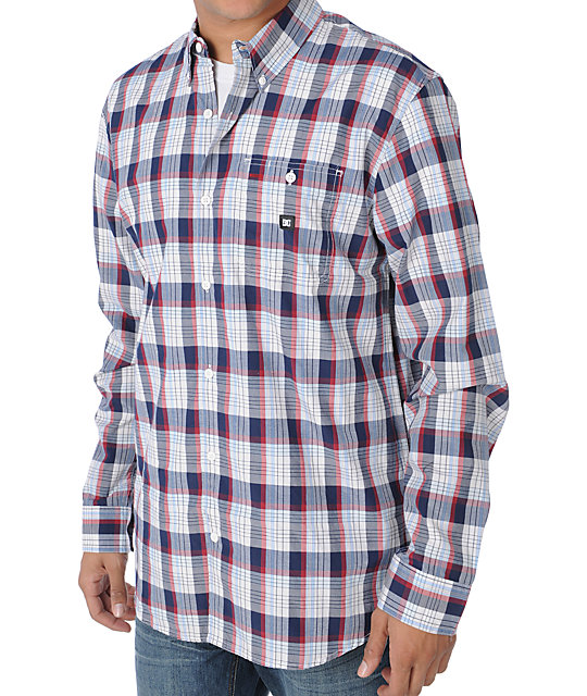 DC Cutlass White & Blue Long Sleeve Woven Shirt