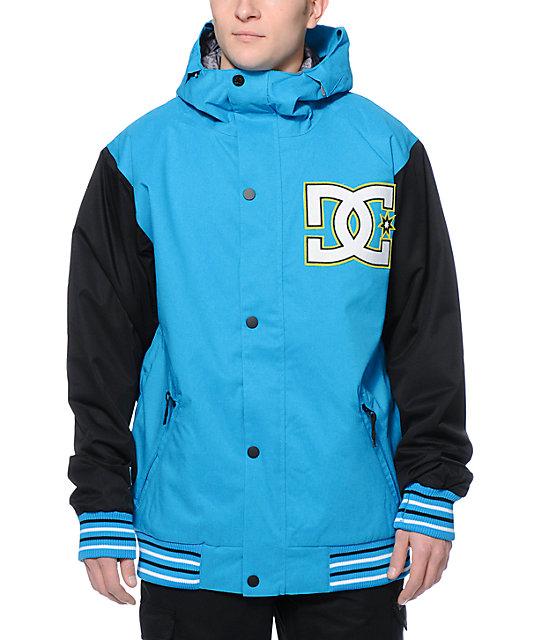 a2db4ae89b76 DC DCLA 10K Blue Varsity Snowboard Jacket | Zumiez