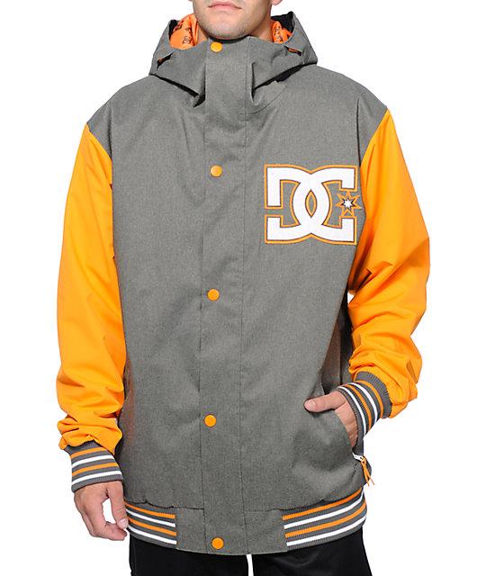 2ebf2cf19e86 DC DCLA 10K Grey & Orange Varsity Snowboard Jacket | Zumiez