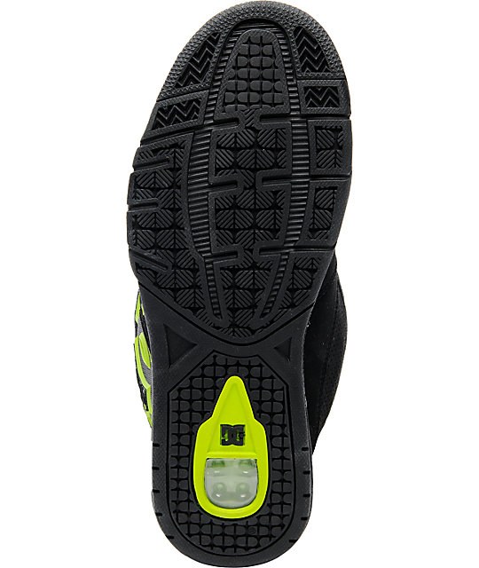 DC Frenzy Black & Soft Lime Skate Shoes