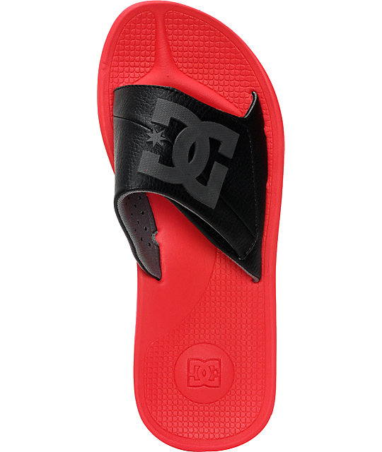 DC Graffik SN Slide Black, Red, & Battleship Sandals