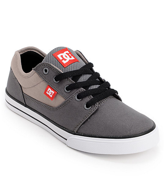 DC Kids Bristol Grey, Red & White Skate Shoes