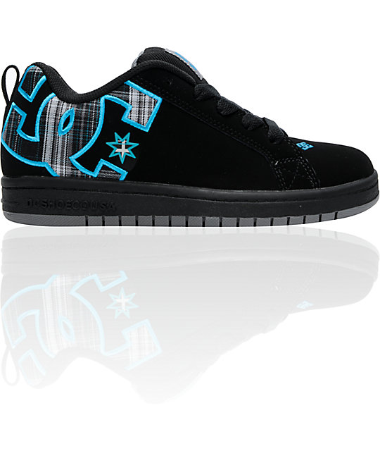 DC Kids Court Graffik SE Black, Battleship & Armor Skate Shoes