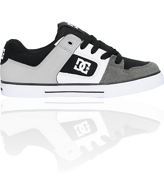 DC Kids Pure Black, Armor & White Skate Shoes