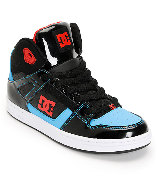 DC Kids Rebound Hi Black, Red, & Turquoise Skate Shoes