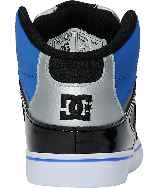 DC Kids Spartan Hi Black, Blue & Silver Skate Shoes
