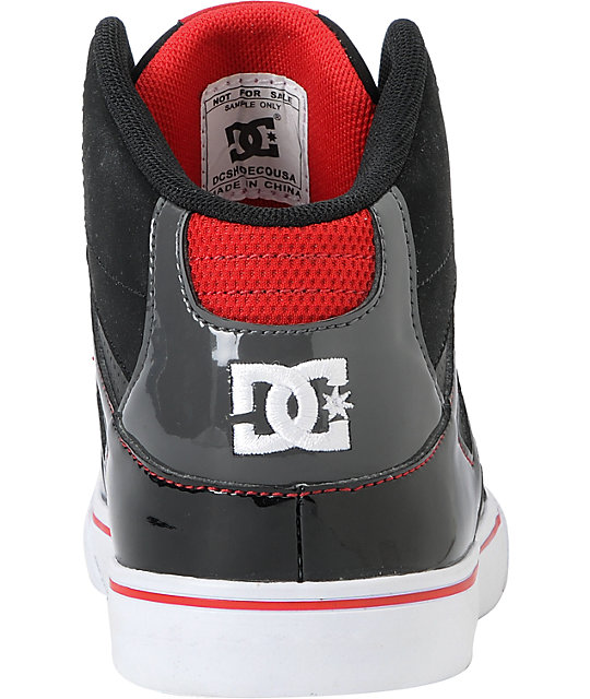 DC Kids Spartan Hi Black, Red, & White Skate Shoes