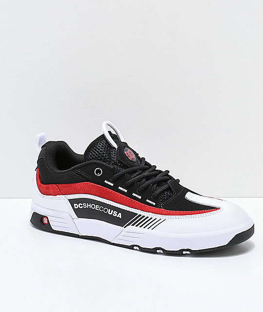 DC Legacy 98 Slim Black, White & Red Skate Shoes