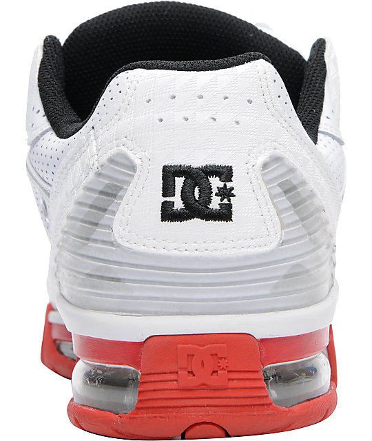 DC Mens Versaflex White & Red Skate Shoes