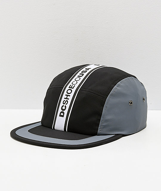 DC Overdraft Logo Taped Black & Grey Five Panel Hat