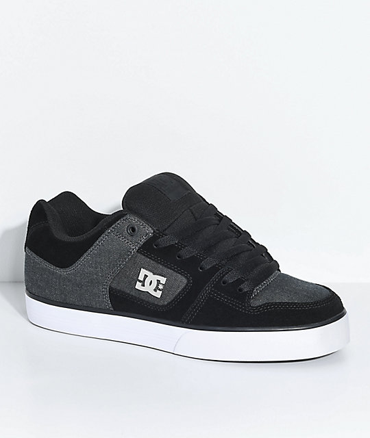 DC Pure SE Black, Charcoal, Suede and Textile Skate Shoes