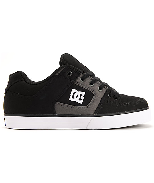 DC Pure TX Black & Dark Shadow Canvas Skate Shoes