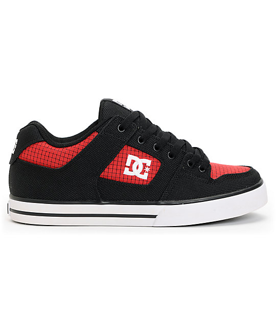 DC Pure TX Black & Red Skate Shoes