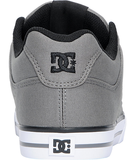 DC Pure TX Grey Canvas & Black Skate Shoes
