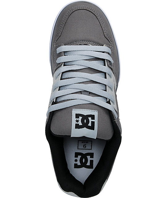 DC Pure TX Grey Canvas Skate Shoes