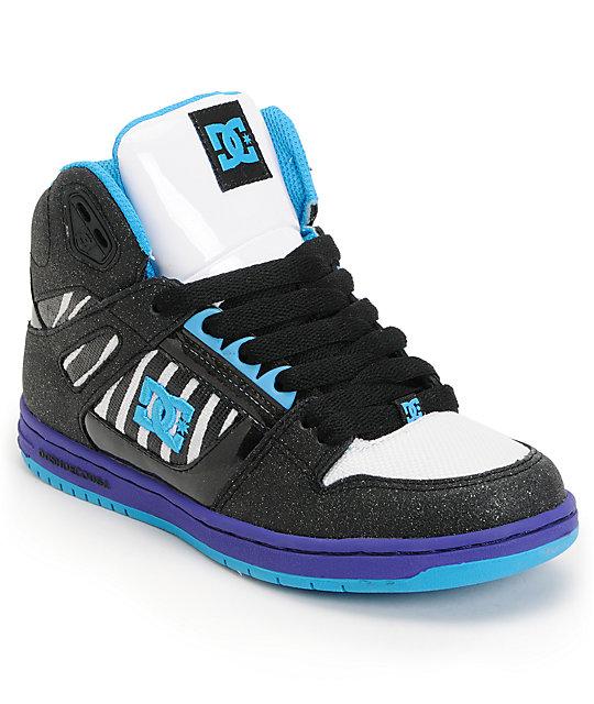 DC Rebound Hi LE Black & Purple Zebra Skate Shoes ...