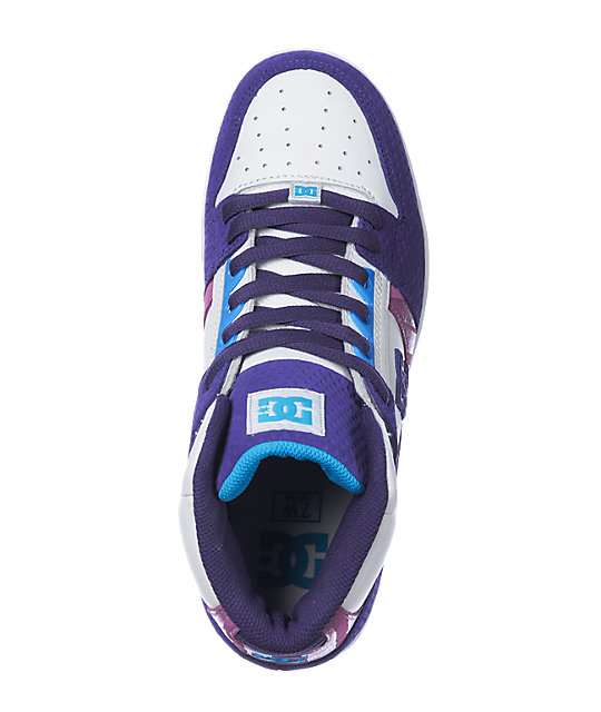 DC Rebound Hi White, Purple & Turquoise Shoes