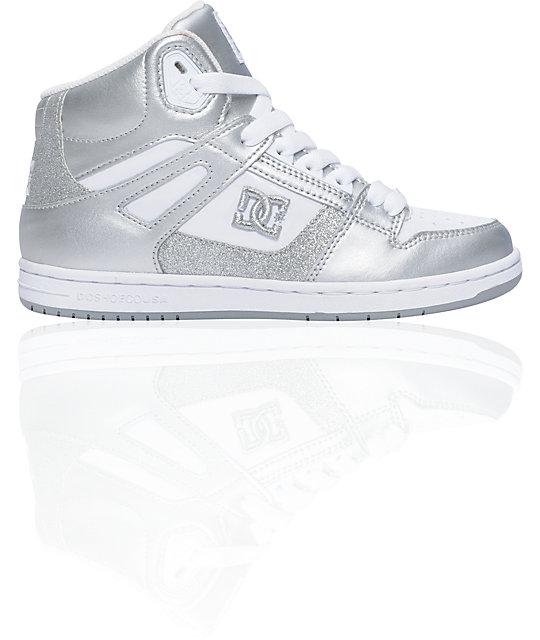 5933912410a DC Rebound Hi White & Metallic Silver Sparkle Shoes   Zumiez