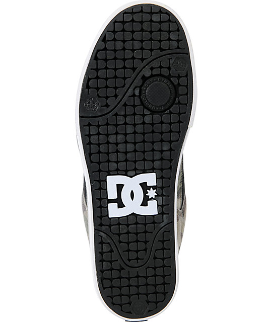 DC Shoes Pure Black & Green Camo Canvas Skate Shoes
