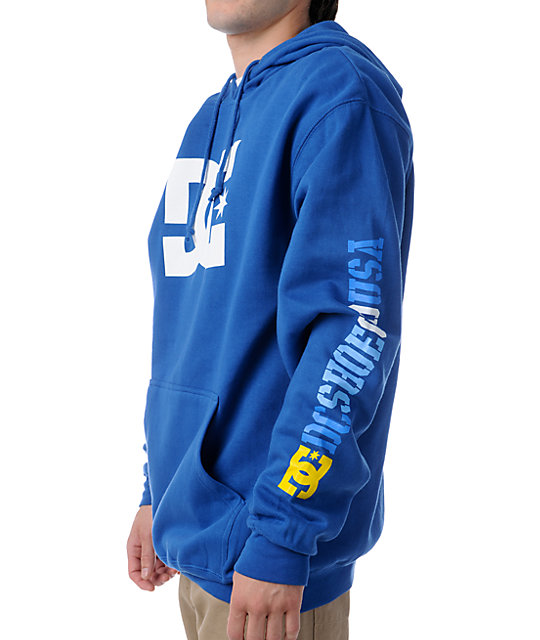 DC Shoes RD Sleeve Star Blue Pullover Hoodie