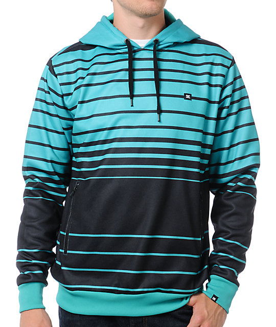 DC Shoes Scaled Black & Teal Pullover Tech Fleece Jacket