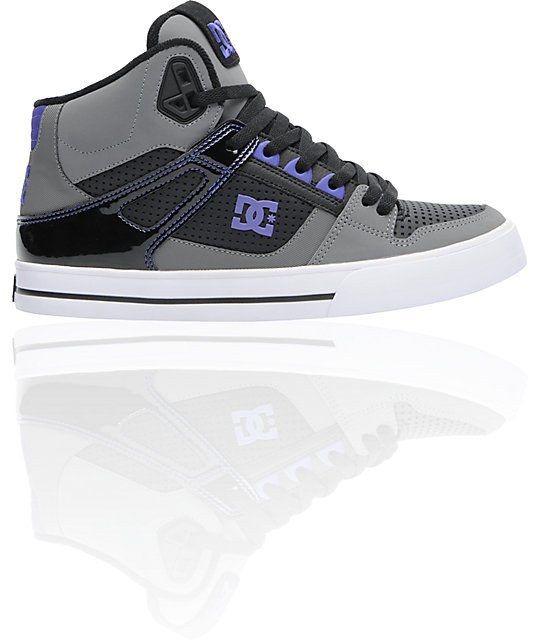 DC Spartan Hi Black, Battleship & Purple Shoes